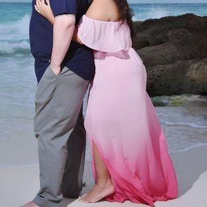 Ombré pink maxi dress